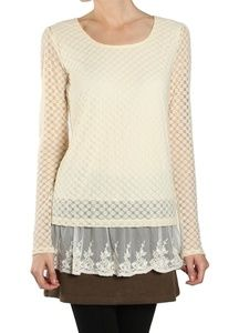 A'Reve Womens Cream Lace Ruffled Tunic Top Size M